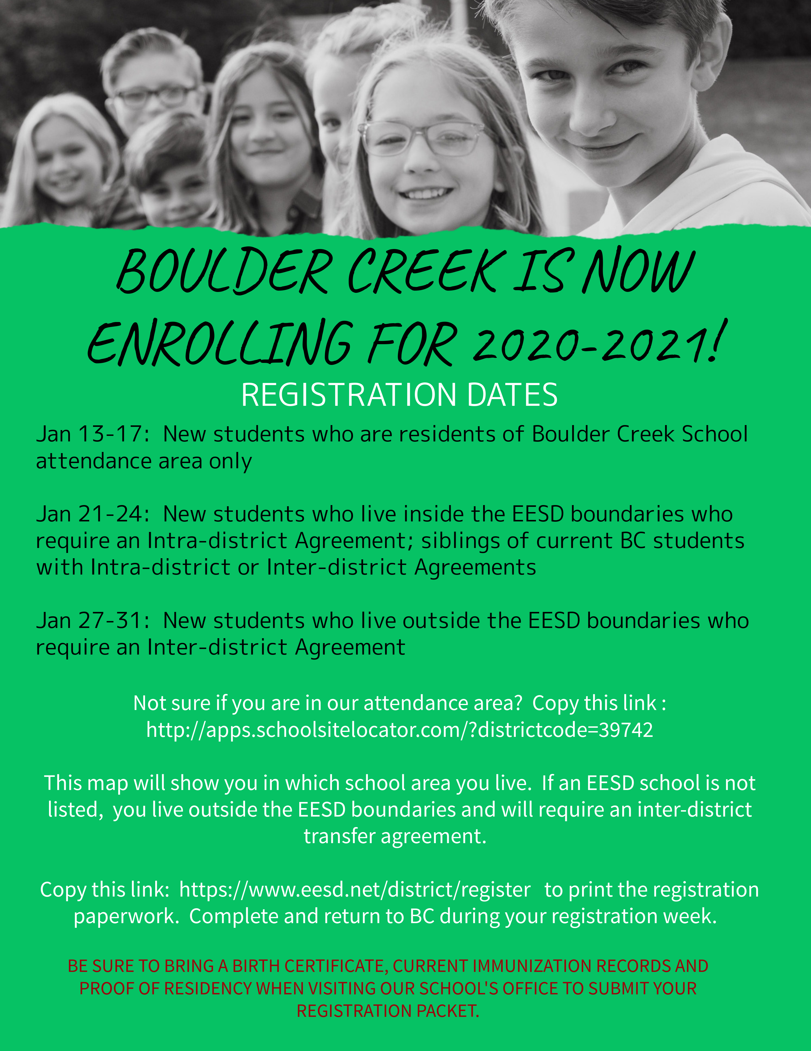Boulder Creek 2020-2021 Enrollment is Open!
